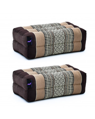 Leewadee Yoga Block Set of 2 Pilates Brick Meditation Cushion Eco-Friendly Organic and Natural, 14x7x5 inches, Kapok, brown
