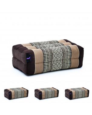 Leewadee Yoga Block Set of 4 Pilates Brick Meditation Cushion Eco-Friendly Organic and Natural, 14x7x5 inches, Kapok, brown