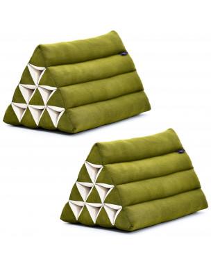 Leewadee set de 2 almohadas triangulares tailandesas – Respaldos hechos a mano para leer, cojines de kapok natural, 50 x 33 x 33 cm, set de 2, verde