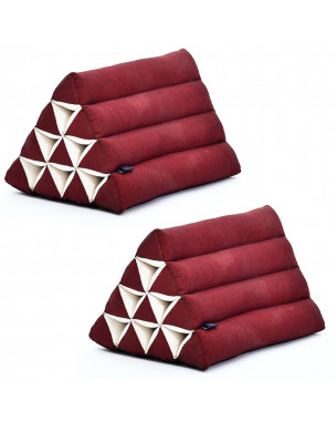 Leewadee Set of 2 Triangle Cushion Reading Pillow Backrest TV Pillow Eco-Friendly Organic and Natural, 20x13x13 inches, Kapok, red
