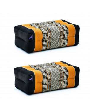 Leewadee Yoga Block Set of 2 Pilates Brick Meditation Cushion Eco-Friendly Organic and Natural, 14x7x5 inches, Kapok, black orange