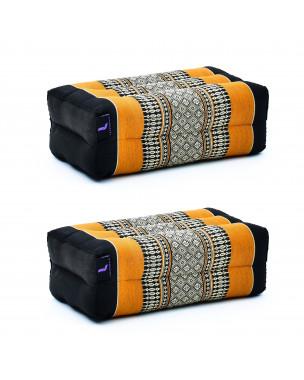 Leewadee Yoga Block Set – 2 Floor Cushions for Yoga, Meditation Block for the Floor, Filled with Eco-Friendly Kapok, 14 x 7 x 5 inches, Pack of 2, black orange
