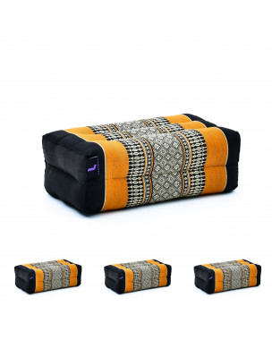 Leewadee Yoga Block Set of 4 Pilates Brick Meditation Cushion Eco-Friendly Organic and Natural, 14x7x5 inches, Kapok, black orange