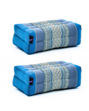 Leewadee Yoga Block Set of 2 Pilates Brick Meditation Cushion Eco-Friendly Organic and Natural, 14x7x5 inches, Kapok, light blue