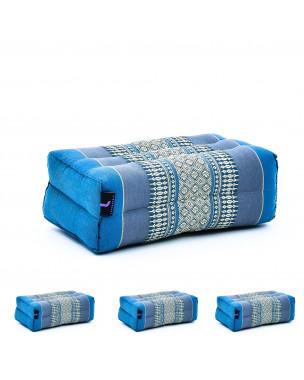 Leewadee Yoga Block Set of 4 Pilates Brick Meditation Cushion Eco-Friendly Organic and Natural, 14x7x5 inches, Kapok, light blue