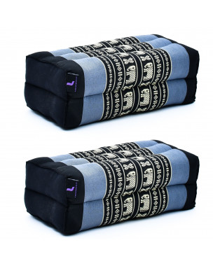 Leewadee Yoga Block Set – 2 Floor Cushions for Yoga, Meditation Block for the Floor, Filled with Eco-Friendly Kapok, 14 x 7 x 5 inches, Pack of 2, blue