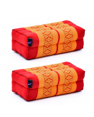 Leewadee Yoga Block Set of 2 Pilates Brick Meditation Cushion Eco-Friendly Organic and Natural, 14x7x5 inches, Kapok, orange red