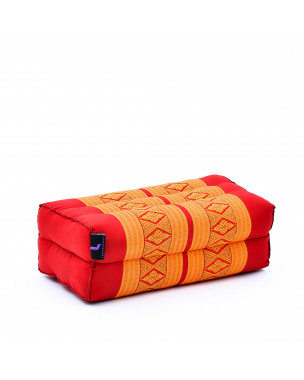 Leewadee Yoga Block – Floor Cushion for Yoga Practice, Meditation Seat Cushion for Workouts Filled with Eco-Friendly Kapok, 14 x 7 x 5 inches, orange red