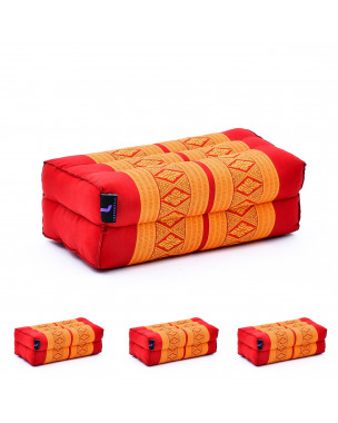 Leewadee Yoga Block Set of 4 Pilates Brick Meditation Cushion Eco-Friendly Organic and Natural, 14x7x5 inches, Kapok, orange red