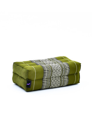 Leewadee Yoga Block – Floor Cushion for Yoga Practice, Meditation Seat Cushion for Workouts Filled with Eco-Friendly Kapok, 14 x 7 x 5 inches, green