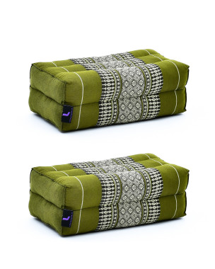 Leewadee Yoga Block Set – 2 Floor Cushions for Yoga, Meditation Block for the Floor, Filled with Eco-Friendly Kapok, 14 x 7 x 5 inches, Pack of 2, green