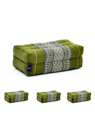 Leewadee Yoga Block Set of 4 Pilates Brick Meditation Cushion Eco-Friendly Organic and Natural, 14x7x5 inches, Kapok, green