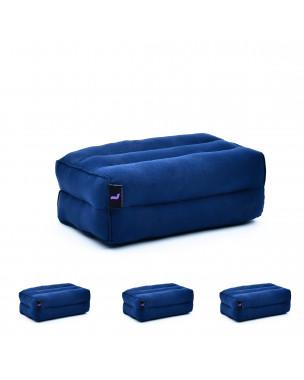 Leewadee Yoga Block Set of 4 Pilates Brick Meditation Cushion Eco-Friendly Organic and Natural, 14x7x5 inches, Kapok, blue