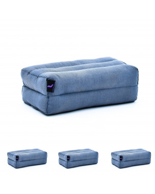 Leewadee Yoga Block Set of 4 Pilates Brick Meditation Cushion Eco-Friendly Organic and Natural, 14x7x5 inches, Kapok, anthracite