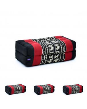 Leewadee Yoga Block Set of 4 Pilates Brick Meditation Cushion Eco-Friendly Organic and Natural, 14x7x5 inches, Kapok, black red