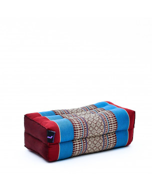Leewadee Yoga Block – Floor Cushion for Yoga Practice, Meditation Seat Cushion for Workouts Filled with Eco-Friendly Kapok, 14 x 7 x 5 inches, blue red