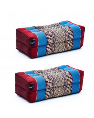 Leewadee Yoga Block Set – 2 Floor Cushions for Yoga, Meditation Block for the Floor, Filled with Eco-Friendly Kapok, 14 x 7 x 5 inches, Pack of 2, blue red