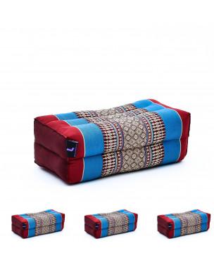 Leewadee Yoga Block Set of 4 Pilates Brick Meditation Cushion Eco-Friendly Organic and Natural, 14x7x5 inches, Kapok, blue red
