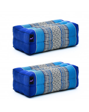 Leewadee Yoga Block Set of 2 Pilates Brick Meditation Cushion Eco-Friendly Organic and Natural, 14x7x5 inches, Kapok, blue