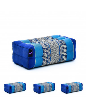 Leewadee Yoga Block Set of 4 Pilates Brick Meditation Cushion Eco-Friendly Organic and Natural, 14x7x5 inches, Kapok, blue
