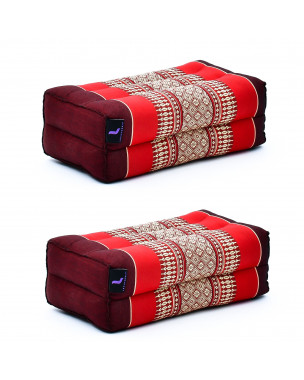 Leewadee Yoga Block Set – 2 Floor Cushions for Yoga, Meditation Block for the Floor, Filled with Eco-Friendly Kapok, 14 x 7 x 5 inches, Pack of 2, red