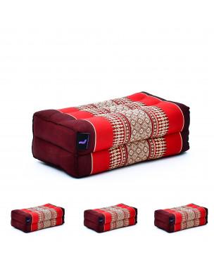 Leewadee Yoga Block Set of 4 Pilates Brick Meditation Cushion Eco-Friendly Organic and Natural, 14x7x5 inches, Kapok, red