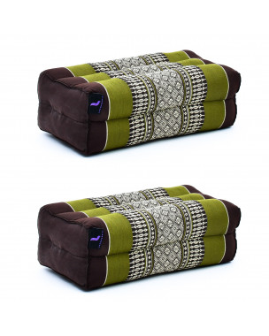 Leewadee Yoga Block Set – 2 Floor Cushions for Yoga, Meditation Block for the Floor, Filled with Eco-Friendly Kapok, 14 x 7 x 5 inches, Pack of 2, brown green