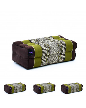 Leewadee Yoga Block Set of 4 Pilates Brick Meditation Cushion Eco-Friendly Organic and Natural, 14x7x5 inches, Kapok, brown green