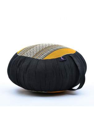 Leewadee Zafu Yoga Pillow – Round Meditation Cushion for Yoga Exercises, Light Floor Pillow Filled with Eco-Friendly Kapok, 16 x 8 inches, black orange