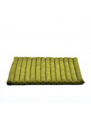 Leewadee Meditation Cushion Large Square Zabuton Mat For Floor Seating Eco-Friendly Organic and Natural, 27x31x2 inches, Kapok, green