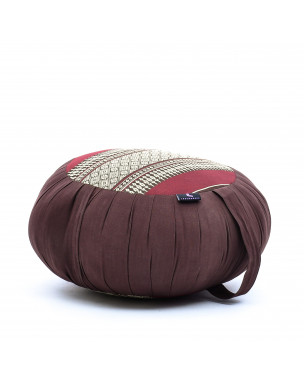 Leewadee Meditation Cushion Round Zafu Pillow For Floor Seating Eco-Friendly Organic and Natural, 16x8 inches, Kapok, brown red