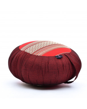 Leewadee Zafu Yoga Pillow – Round Meditation Cushion for Yoga Exercises, Light Floor Pillow Filled with Eco-Friendly Kapok, 16 x 8 inches, red
