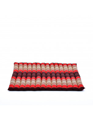 Leewadee Meditation Cushion Large Square Zabuton Mat For Floor Seating Eco-Friendly Organic and Natural, 27x31x2 inches, Kapok, red
