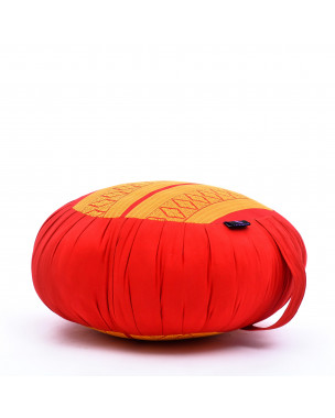 Leewadee Meditation Cushion Round Zafu Pillow For Floor Seating Eco-Friendly Organic and Natural, 16x8 inches, Kapok, orange red