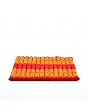 Leewadee Zabuton Seating Cushion – Square Floor Seat for Meditation Exercises, Light Yoga Mat Filled with Eco-Friendly Kapok, 27 x 31 inches, orange red