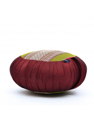 Leewadee Meditation Cushion Round Zafu Pillow For Floor Seating Eco-Friendly Organic and Natural, 16x8 inches, Kapok, green red