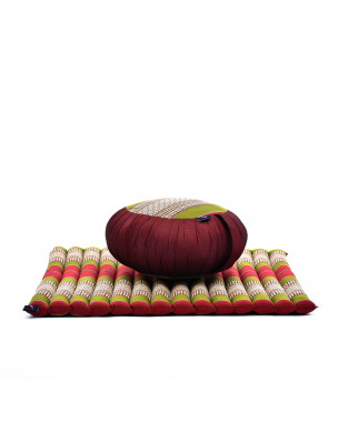 Leewadee Meditation Cushion Set: Round Zafu Pillow and Large Square Zabuton Mat For Floor Seating Eco-Friendly Organic and Natural, Kapok, green red