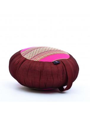 Leewadee Zafu Yoga Pillow – Round Meditation Cushion for Yoga Exercises, Light Floor Pillow Filled with Eco-Friendly Kapok, 16 x 8 inches, auburn pink