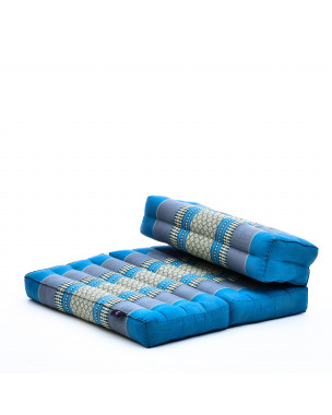 Leewadee Foldable Floor Mattress – 2 in 1 Floor Meditation Mat for Yoga and Relaxation, Seating Futon with Eco-Friendly Kapok, 21 x 28 inches, light blue