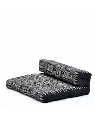 Leewadee Foldable Floor Mattress – 2 in 1 Floor Meditation Mat for Yoga and Relaxation, Seating Futon with Eco-Friendly Kapok, 21 x 28 inches, black