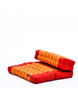 Leewadee Foldable Meditation Floor Seat 2 in 1 Set Meditation Pillow and Cushion Underlay In One Eco-Friendly Organic and Natural, Kapok, orange red