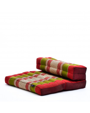 Leewadee Foldable Meditation Floor Seat 2 in 1 Set Meditation Pillow and Cushion Underlay In One Eco-Friendly Organic and Natural, Kapok, green red