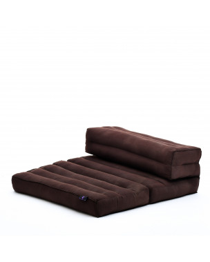 Leewadee Foldable Floor Mattress – 2 in 1 Floor Meditation Mat for Yoga and Relaxation, Seating Futon with Eco-Friendly Kapok, 21 x 28 inches, brown
