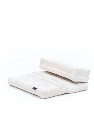 Leewadee Foldable Floor Mattress – 2 in 1 Floor Meditation Mat for Yoga and Relaxation, Seating Futon with Eco-Friendly Kapok, 21 x 28 inches, ecru