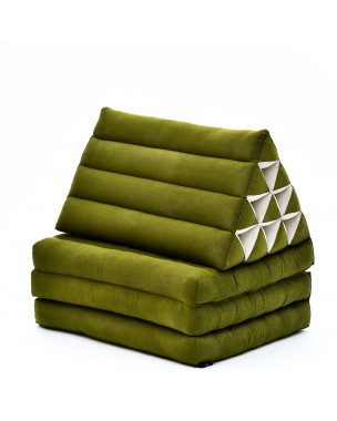Leewadee Foldout Triangle Thai-Cushion Floor-Seat with Back-Rest TV Pillow Lounge-r Foldable Out-Door Mattress, 67x21x16 inches, Kapok, green