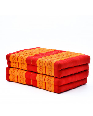 Leewadee Foldable Thai Mattress, 79x31x3 inches, Guest Bed Tri-Fold Yoga Floor Mat Thai Massage Pad TV Floor Seat with Backrest Game Chair Eco-Friendly Organic and Natural,  Kapok, orange red