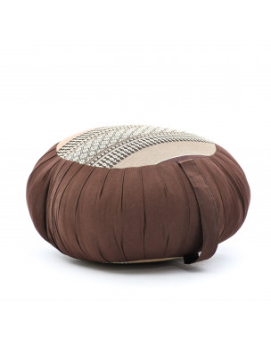 Leewadee Zafu Yoga Pillow – Round Meditation Cushion for Yoga Exercises, Light Floor Pillow Filled with Eco-Friendly Kapok, 16 x 8 inches, brown