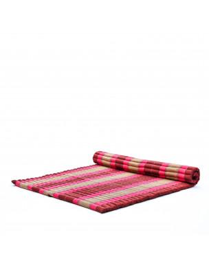 Leewadee Rollbare XL Thai Matte, 200x145x5 cm, Extrabreite Gästematratze Yogamatte Massagematte Ökologisches Naturprodukt,  Kapok, pink rotbraun