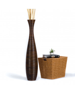 Leewadee Tall Big Floor Standing Vase For Home Decor 44 inches, Mango Wood, brown