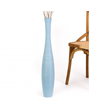 Leewadee Large Floor Vase – Handmade Flower Holder Made of Wood, Sophisticated Vessel for Decorative Branches and Dried Flowers, 30 inches, blue